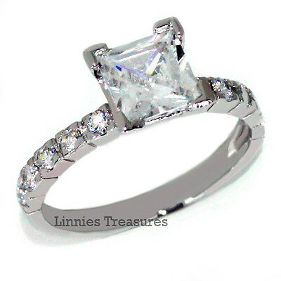 Womens Engagement Ring Princess CZ 6.5mm Solitaire w Accents 925 Sterling Silver