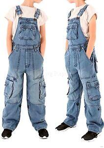 grande vente 95699 08ff6 Détails sur Peviani Cargo Combat Enfants Filles Garçons Délavé Salopette  Jeans 8 - 14 Ans