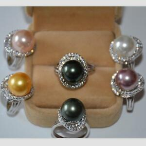 5-Color-Perfect-AAA-11-12mm-South-Sea-Akoya-Genuine-Pearl-Silver-Ring-Size-8