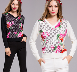 Occident sexy personality V Collar Long sleeve printing Primer Slim sweater
