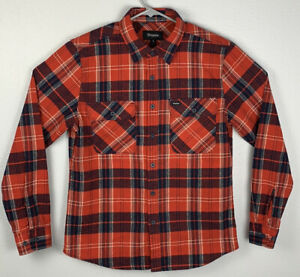 Brixton-Red-Button-Up-Flannel-Long-Sleeve-Mens-S-Small