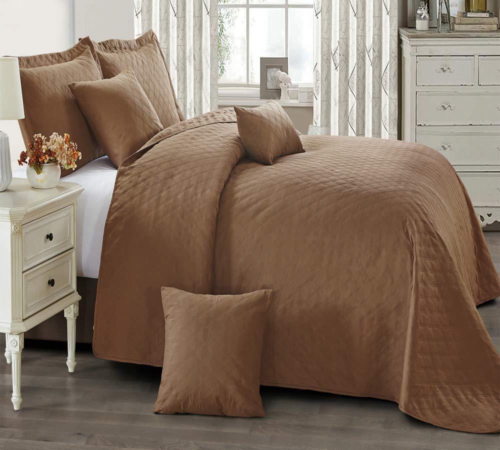Luxury Mocha King Größe Bedspread Throw Comforter Set With Pillow Shams 240x240cm