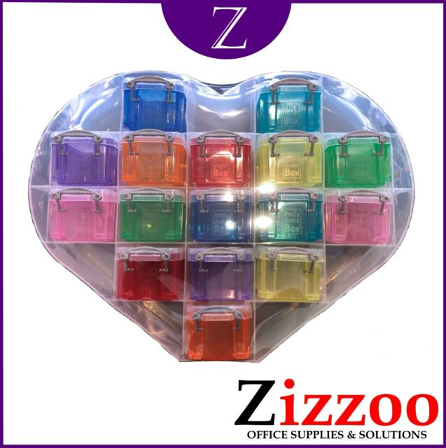 LARGE HEART ORGANISER WITH 16 X 0.14 LITRE REALLY USEFUL BOXES - RANDOM COLOURS