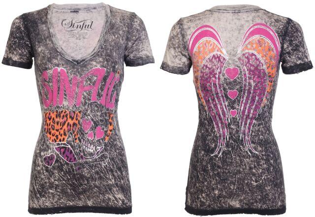 Sinful AFFLICTION Womens T-Shirt LOVELY Skull Wings Tattoo Biker UFC $48