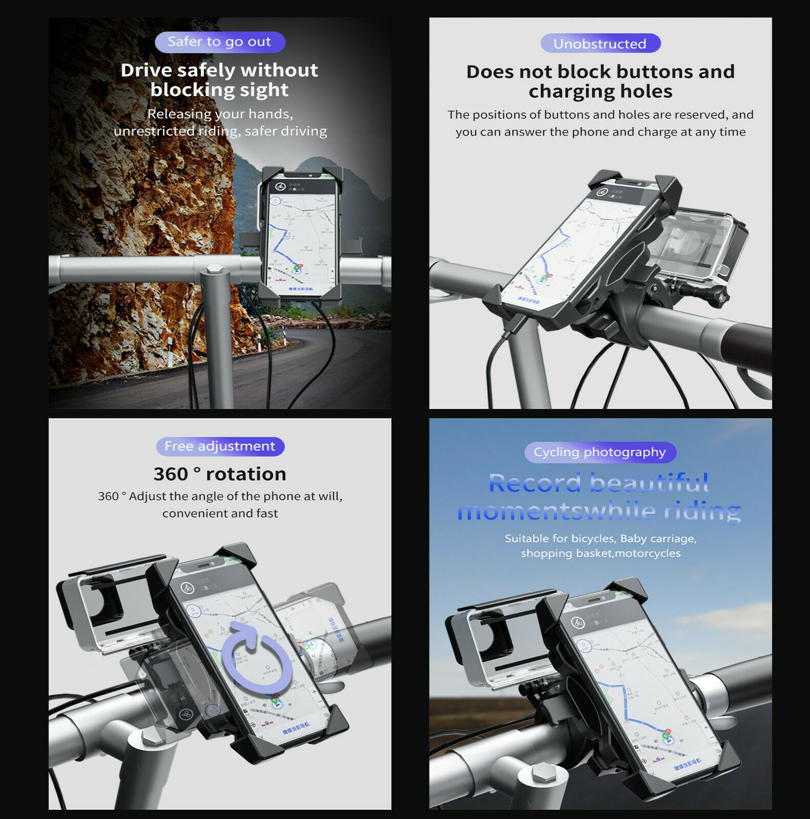 Motorcycle Phone Smartphone /& GOPRO Camera Mount GFH01 Details about  /Genieforce Bicycle
