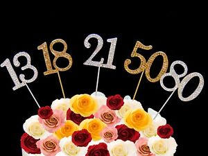 Cake-Pick-Topper-Silver-Gold-Diamante-Rhinestone-Birthday-Party-Number-Diamonte