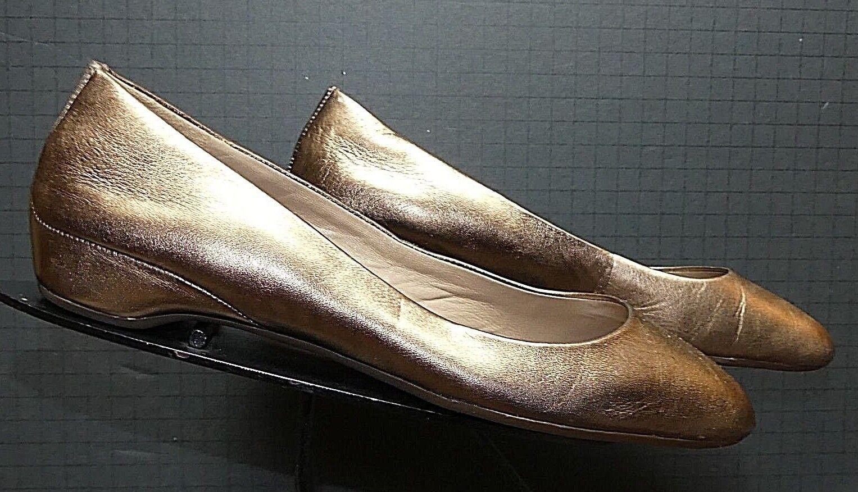 Women's ECCO gold Leather Flat Sz. 40 9.5 EXCELLENT