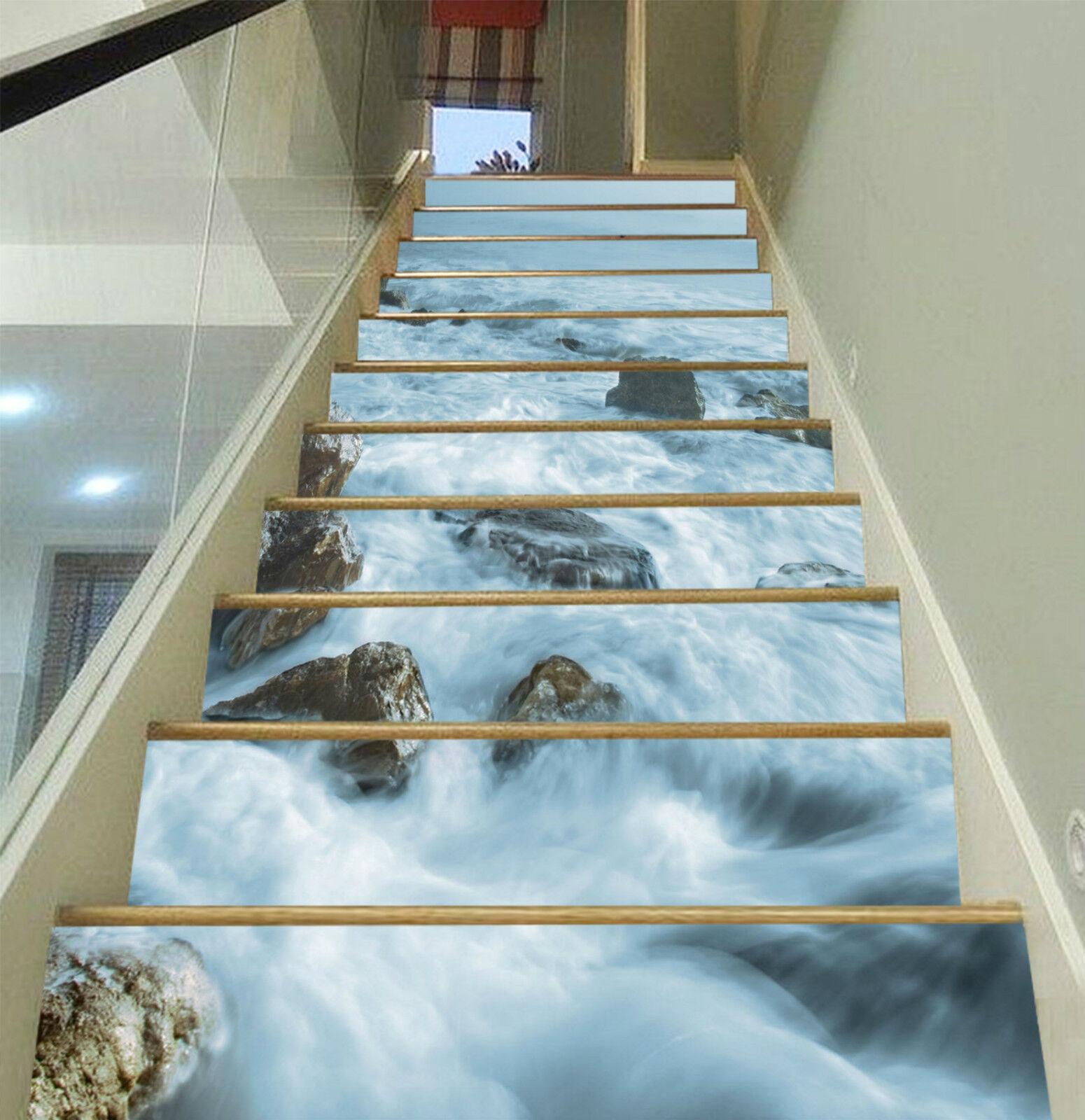 3D Fluss Meer 2481 Stair Risers Dekoration Fototapete Vinyl Aufkleber Tapete DE