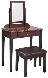 Iris Vanity Table Stool Espresso Finish Amp Marble Top Ebay