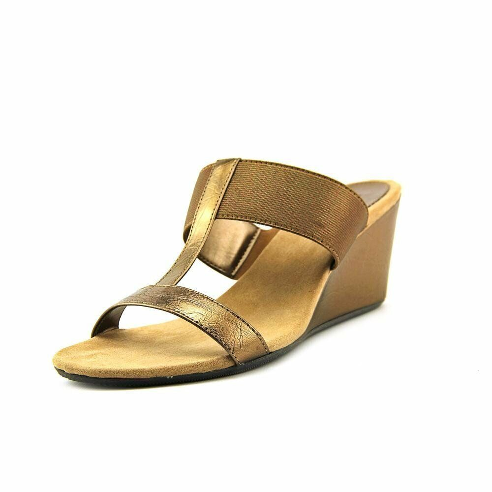 Style & Co. Womens VERN Open Toe Casual Wedged Sandals Bronze Size 8