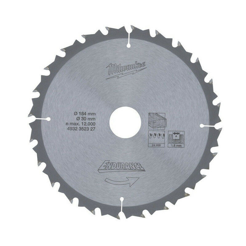 Milwaukee Holz-Sägeblatt Ø 190x30x,Zähne 24, für Akku-Handkreissägen, 4932352327
