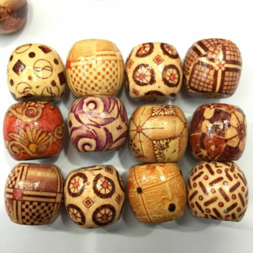 100PC 9x10mm Tribal Patterned Wood Beads Mix Wooden Dreadlock Pony Bead Macrame
