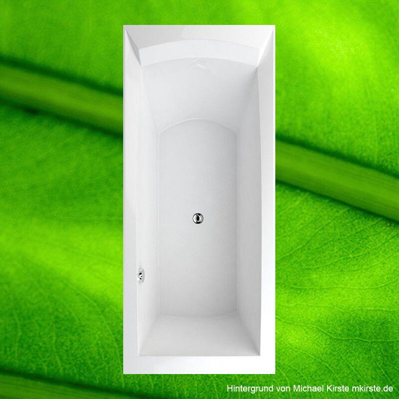 Badewanne 180x80 cm R + Wannenträger + Ablauf Wanne 80x180 komplett tief 50 cm