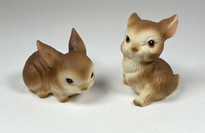 Vintage-Set-Of-2-Lefton-China-Hand-Painted-Bunnies-Rabbit-04763-Figurines