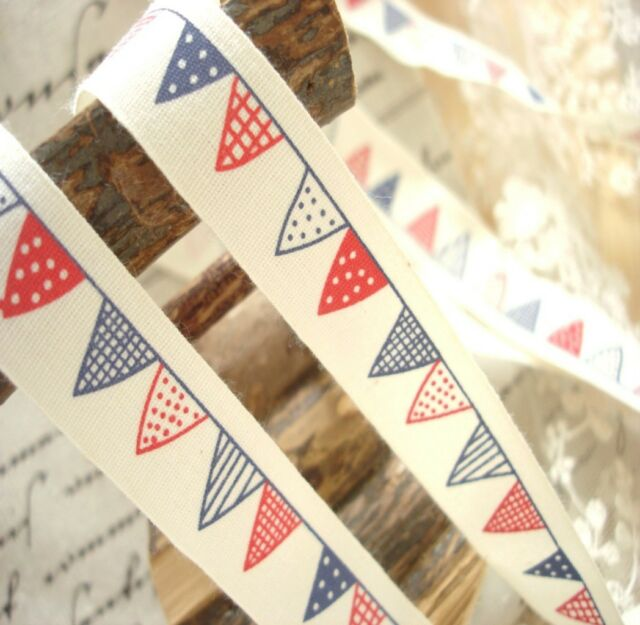 Lovely Red Blue Tiny Bunting Sewing Cotton Fabric Tape Labels Trims Nautical
