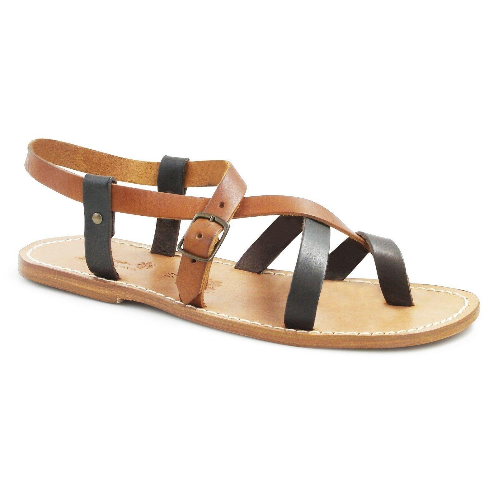 Hecho A Mano Para Hombres Zapatos Sandalias De Jesús Bronceado Marrón Oscuro Cuero Genuino Hecho en Italia