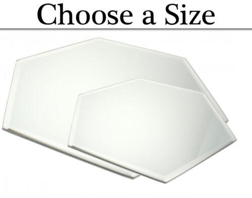 20-30cm Hexagonal Bevel Edge Mirror Plate Wedding Centrepieces