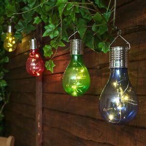 4 SOLAR POWERED OUTDOOR GARDEN HANGING TREE FESTOON GLOBE LED BULB LED LIGHTS  eBay