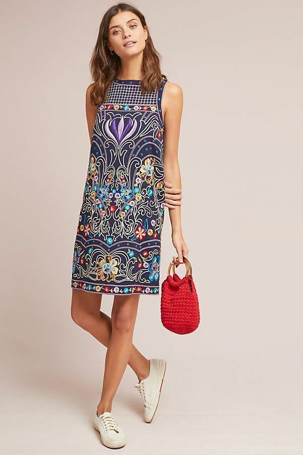 New Anthropologie Kira Embroidered Tunic Dress Dress Dress by Maeve Navy Sz  6 3c2271