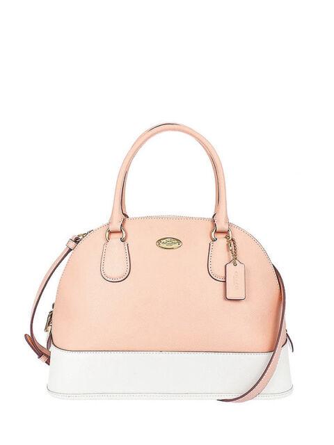 Nwt Coach Crossgrain Cora Domed Satchel Handbag In Apricot Chalk F 34491