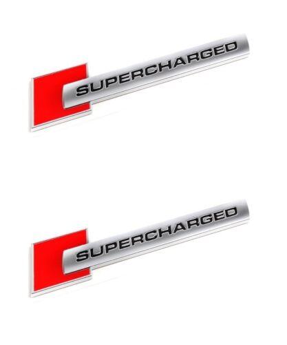 2 LOGO SUPERCHARGED LOOK ALU ROUGE AUTOCOLLANT AUDI A5 Décapotable