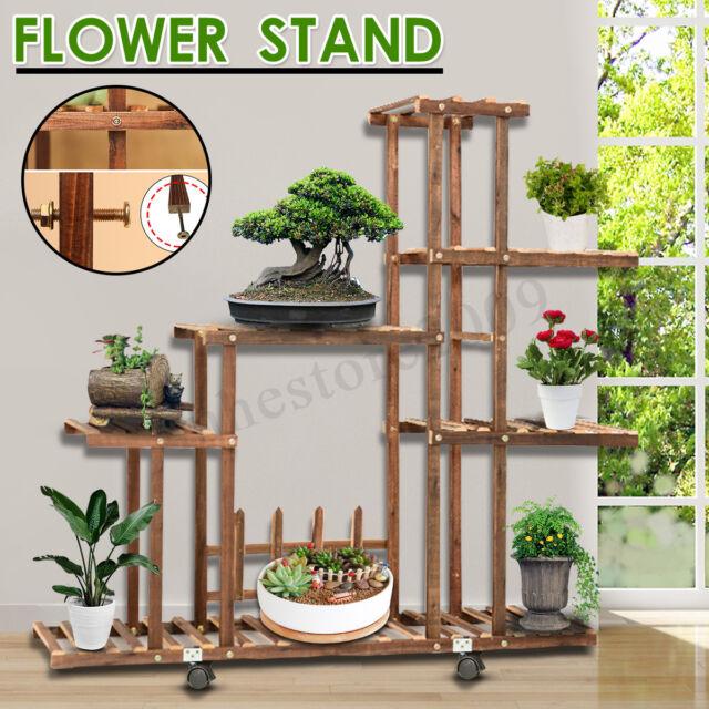Fir Wood Plant Flower Pot Stand Shelf
