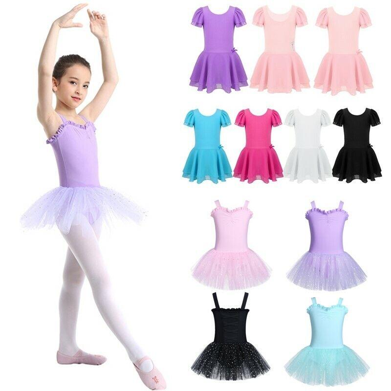 Kids Girls Gymnastics Ballet Leotard Tutu Dress Ballerina Skirt Dancing Costume