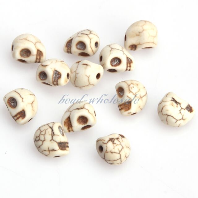 New 50/100Pcs Loose Skull Spacer Beads Man-made Turquoise For Bracelet 10x8mm