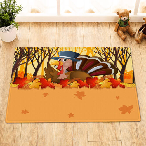 """Thanksgiving Turkey Autumn Forest Maple Leaves Fabric Shower Curtain Set 72x72/"""""""