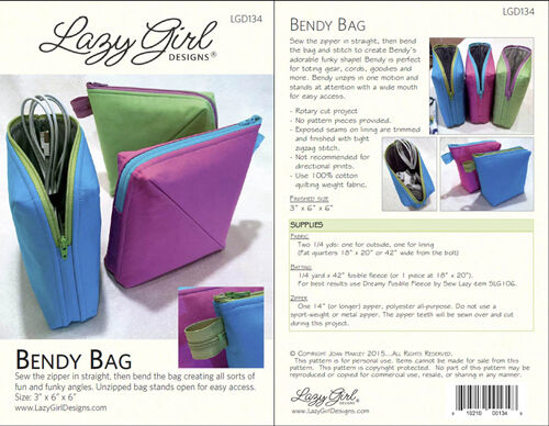 Lazy Girl Designs BENDY BAG BY JOAN HAWLEY  NEW   BAG//TOTE Pattern