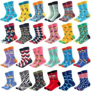 Mens-Cotton-Socks-Novelty-Cartoon-Animal-Fruits-Colorful-Funny-Casual-Dress-Sock