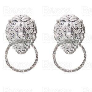 STATEMENT austrian crystal EARRINGS retro LIONS HEAD HOOPS large SILVER FASHION