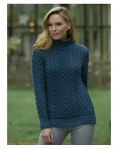 6c940d6c7 Image is loading Luxurious-High-Neck-Cable-Knit-Sweater-C4767-Aran-