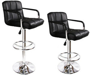 Image Is Loading 2 Black Bar Stools Leather Modern Hydraulic Swivel