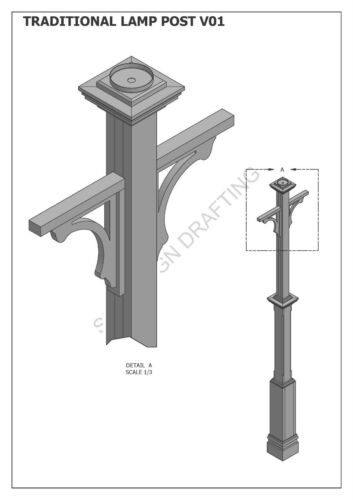 BUILD /& SAVE $$$ Construction Plans 2D /& 3D TRADITIONAL LAMP POST LIGHT V01