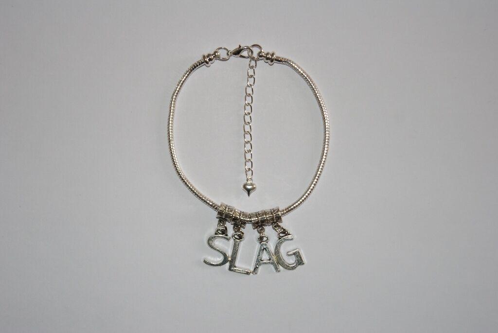 Hotwife 'SLAG' Euro Anklet Ankle Chain Jewellery Slut Milf Cheating Wife Fetish
