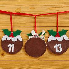 Christmas Pudding Advent Calendar Countdown Bunting Decoration 2.6 Metres