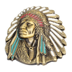 Vintage-American-Native-Indian-Chief-Feather-Western-Badge-Alloy-Belt-Buckle-Hot