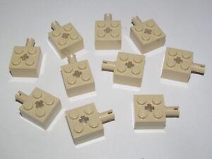 Lego ® Lot x10 Briques Piton Latéral Beige Brick 2x2 Pin Axle hole Tan 6232 NEW