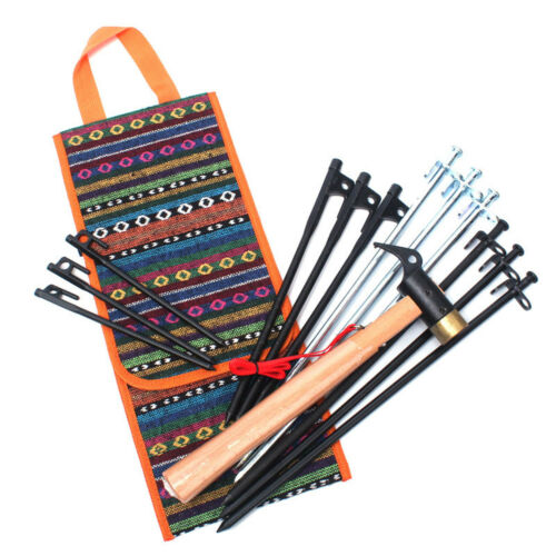NEW Hammer Wind Rope Tent Pegs Nail Storage Bag Outdoor Camping Tent Accessories