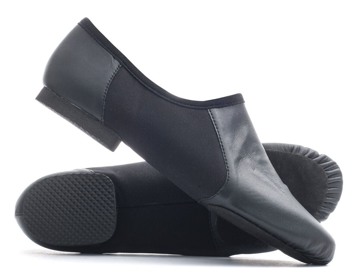 Black PU Pull On Suede Split Sole Jazz Dance Practice Shoes By Katz All Sizes