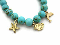 Ettika Beaded Bracelet, Blue Stones Gold Tone Charms, Beach Theme, With Tag