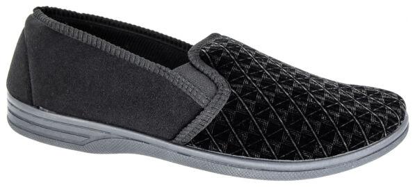 Alerta Mens Resbalón En Zapatillas Negro Terciopelo Cómodo Zedzzz Tamaños 7 A 16-ver
