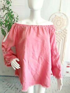 Standard-Grace-Women-039-s-XL-Blouse-Off-Shoulder-Pink-Bell-Boho-Floral-Embroidered