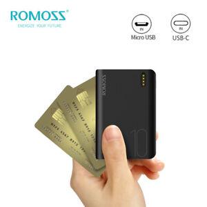 ROMOSS Mini Power Bank Dual USB 10000mAh External Battery Portable Phone Charger