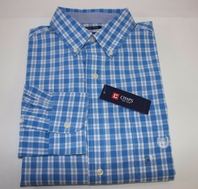 NWT NEW mens blue yellow red aqua plaid CHAPS l//s stretch easy care dress shirt