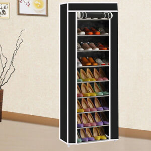 10-Tiers-Shoe-Rack-Shelf-Storage-Closet-Organizer-Cabinet-Dustproof-Cover