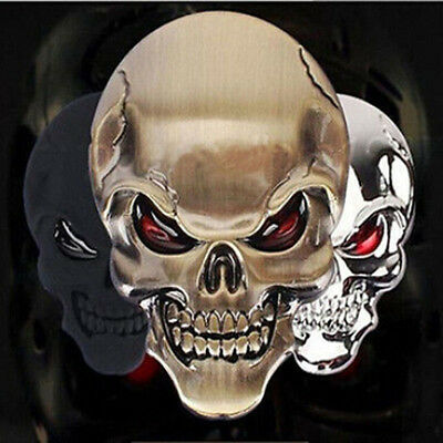 Gold/Black Skull Skeleton Car/Motorcycle Decal 3D Metal Sticker Emblem Badge