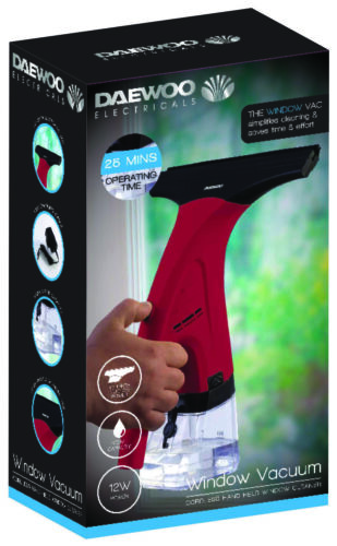 DAEWOO 12 W RICARICABILE Hand Held Vetro Finestra Pulizia Vac VUOTO-Rosso /& Nero