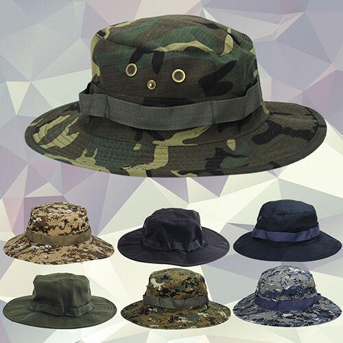 QA/_ Woodland Fishing Hiking Military Sun-proof Camo Boonie Bush Hat Cap Novelt